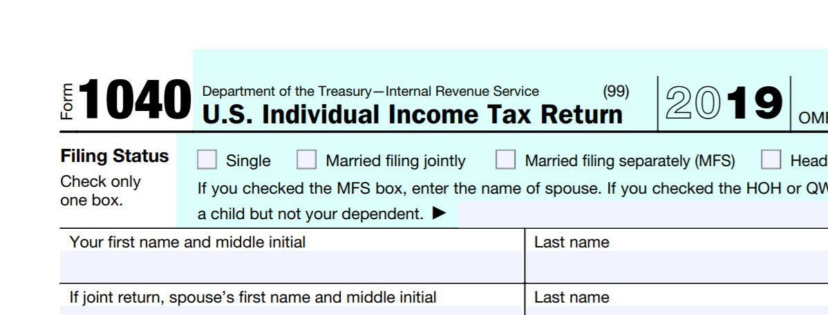 Top right section of a Form 1040 from 2019