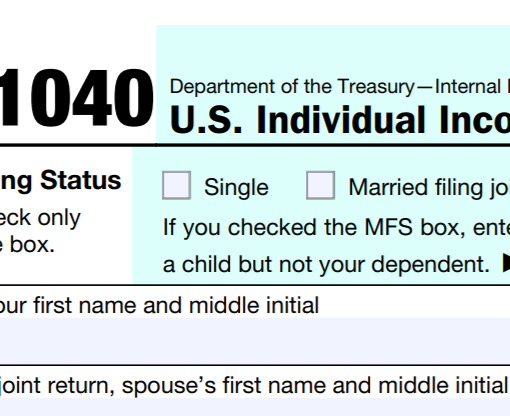 Top right corner of a Form 1040 tax return