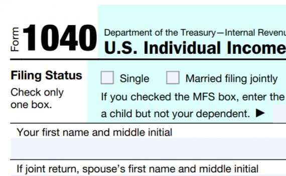 Top right corner of a Form 1040 tax return
