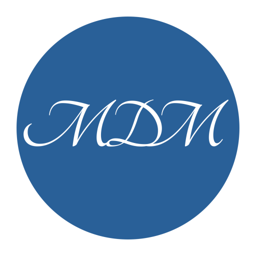 Logo letters MDM in white inside a blue circle