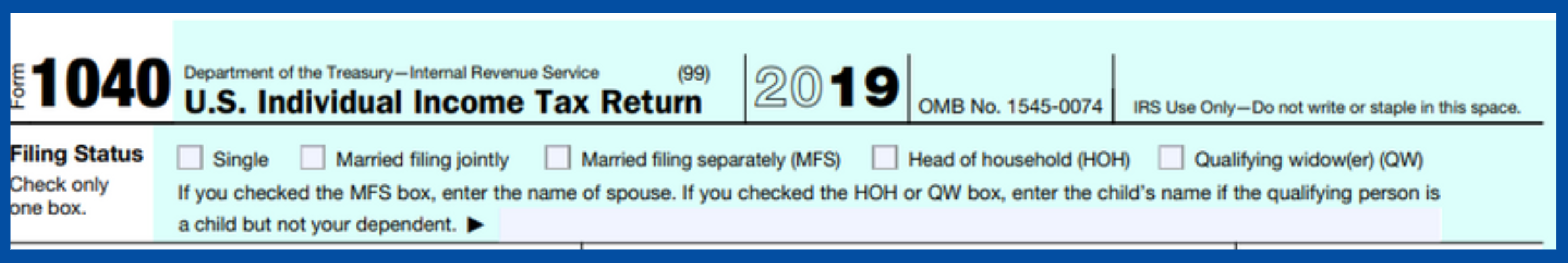 Snip of the top section of a 2019 1040 tax return