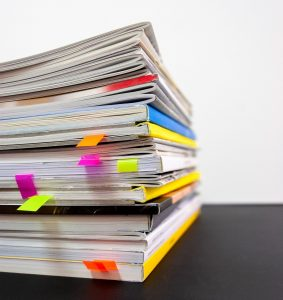 Stack of papers and books
